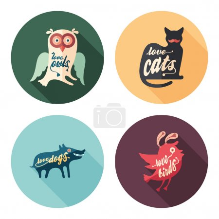 Illustration for Colors Cult. Set of animals flat round icons with long shadows. - Royalty Free Image