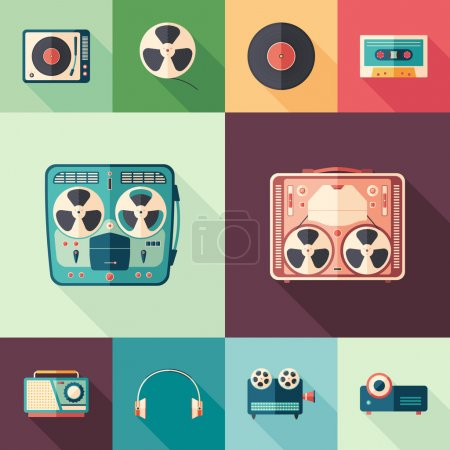 Illustration for 10 flat retro media flat square icons with long shadows. - Royalty Free Image