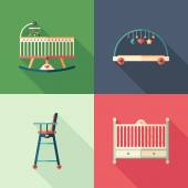 Baby furniture flat square icons with long shadows