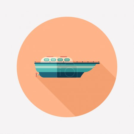 Illustration for Sun Sea Summer. Colorful flat round icon. - Royalty Free Image