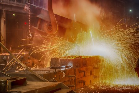 steel pouring at steel plant