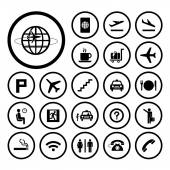Vector basic icon set for airport