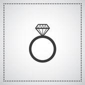 Diamond engagement ring vector symbol