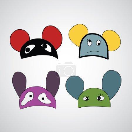 Cartoon funny hats set.    hand drawn vector illus...