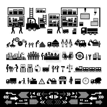 Illustration pour Icônes fabricant et distributeur pour le système d'entreprise - image libre de droit