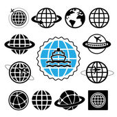 ship and globes icon set