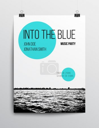 Illustration for Abstract minimal dance or music party poster background template, vector illustration eps10. Clean and realistic design - Royalty Free Image