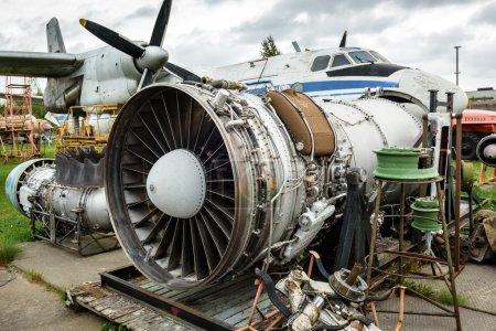 Disassembled broken aircraft engine