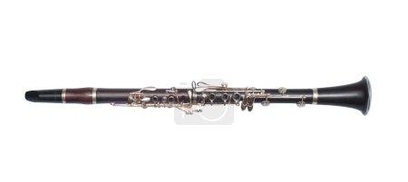Brass black clarinet isolated on white background