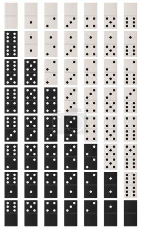 Photo pour Domino noir et blanc isolé sur fond blanc - image libre de droit