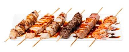 Set of different skewers kebab shashlik