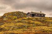 Cabin on hill in Hardangervidda National Park, Norway