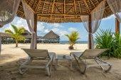 Beach lounges and a beach bar, Zanzibar, Tanzania