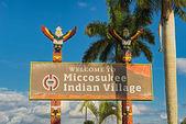 Entrance sign in the Miccosukee Indian Village, Miami, Florida