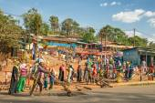 Popular and crowded african market near Addis Abbaba, Ethiopia