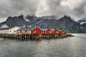 Red fishing cabins in Hamnoy, Norway