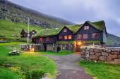 Kirkjuboargardur, historic wooden farm in Kirkjubour, Faroe Isla