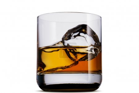 Photo for Whiskey in glass with ice cubes on white background - Royalty Free Image