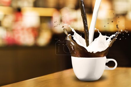 Coffee and Milk Splash in Coffee Shop...