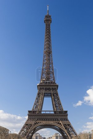 Eiffel Tower with cloudy sky