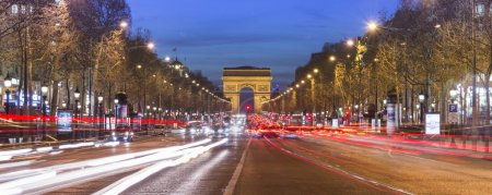 Photo for Arc de triomphe Paris city at sunset - Arch of Triumph and Champs Elysees - Royalty Free Image
