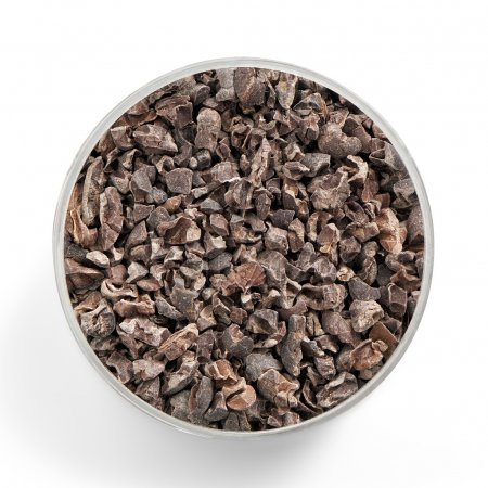 Fresh and healthy superfood cacao nibs shot from a...