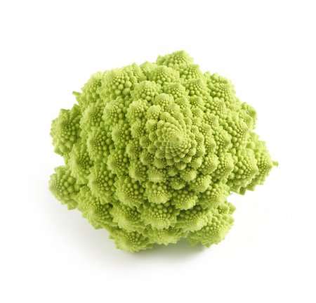 Whole fresh green Romanesco broccoli on white view...