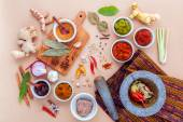 Sortiment potravin vaření thajské a vložit thajské po