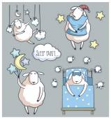 Cute cartoon sheep in vector sleep party