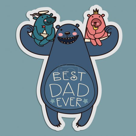 Dad Bear playing with his kids. Vector illustration.