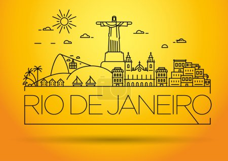 Linear Rio de Janeiro City Silhouette with Typogra...