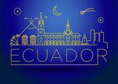 Ecuador Linear Skyline with Typographic Design