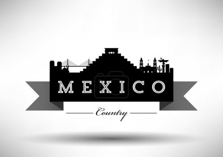 Mexico Skyline with Typography Design