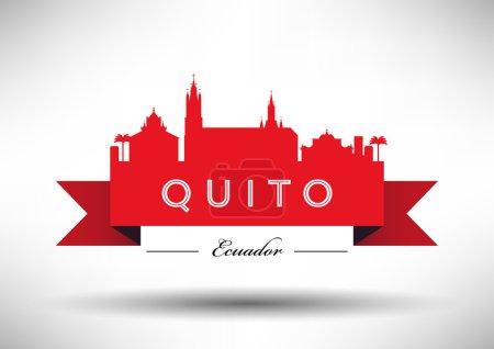 Illustration pour Équateur Skyline avec design typographique - image libre de droit