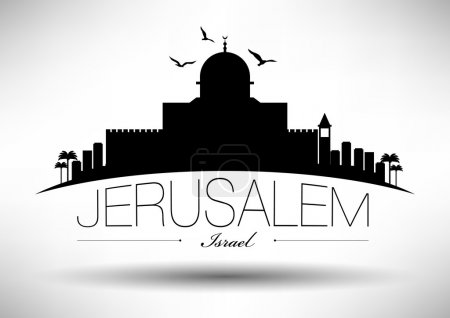 Jerusalem Skyline with Typography Design