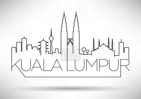 Illustration for Kuala Lumpur City Line Silhouette Typographic Design, vector illustration - Royalty Free Image