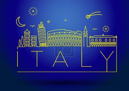 Italy Line Silhouette Typographic Design
