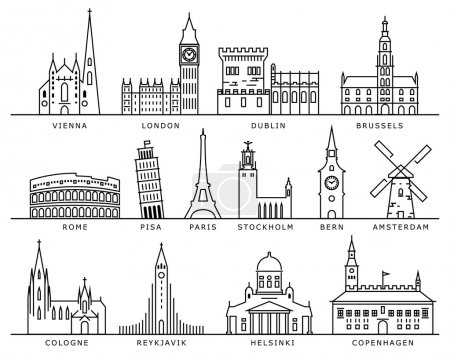 Photo pour Quatorze villes européennes emblèmes icône de style vectoriel linéaire - image libre de droit