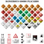 Set of dangerous goods placards on white backgroun...