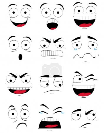 Illustration for A set of different facial expressions on a white background - Royalty Free Image