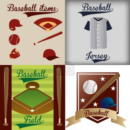 Illustration for A set of labels and backgrounds with text and different baseball items - Royalty Free Image