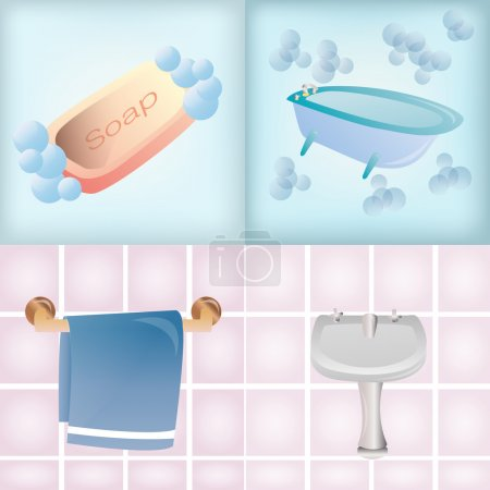 Illustration for A set of different bathroom elements on different backgrounds - Royalty Free Image