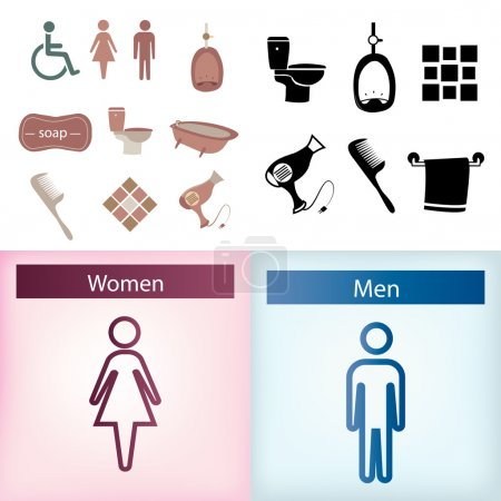 Illustration for A set of bathrooms elements and icons on colored backgrounds - Royalty Free Image