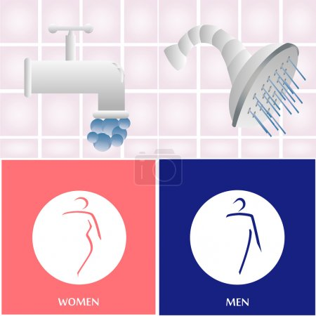 Illustration for A set of bathroom elements and icons on colored backgrounds - Royalty Free Image