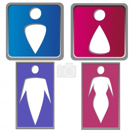 Illustration for A set of bathroom signals with white silhouettes of both women and men - Royalty Free Image