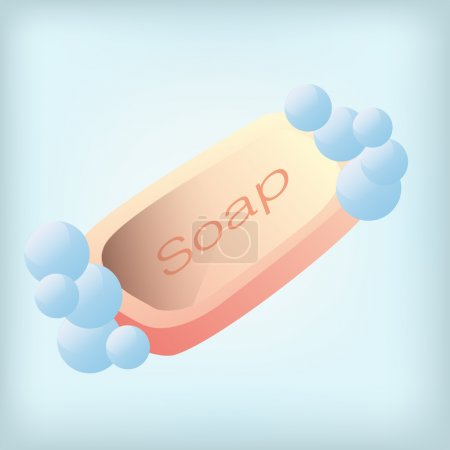 Illustration for An isolated soap on a blue background - Royalty Free Image