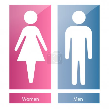 Illustration for A pair of bathroom signals with white silhouettes of both women and men - Royalty Free Image
