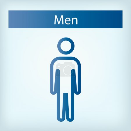 Illustration for A blue background with text and a man icon - Royalty Free Image