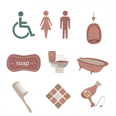 Illustration for A set of bathroom icons on a white background - Royalty Free Image