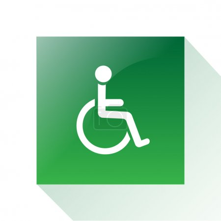 Illustration for A green signal with a white silhouette of a disabled person - Royalty Free Image